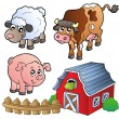 Collection of various farm animals — Imagens vectoriais em stock