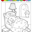 Coloring book with teddy bear 1 - Stock Vector