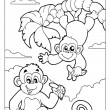 Coloring book with two monkeys - Stock Vector