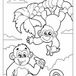 Coloring book with two monkeys — Stock Vector