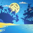 Night seascape with pirate ship 2 — Stock Vector