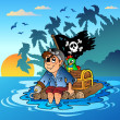 Pirate sailing on wooden raft - Stock Vector