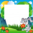 Spring frame with bunny and flowers — Stock Vector #5065501