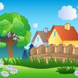 Spring landscape with two houses — Stock Vector
