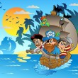 Three pirates in boat near island - Stock Vector
