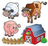 Colección de varios animales de granja — Vector de stock