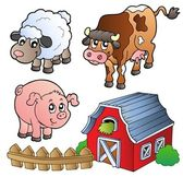 Collection of various farm animals — Vector de stock