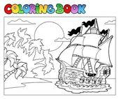 Coloring book with pirate scene 2 — Stock Vector