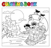 Coloring book with pirate scene 3 — Stock Vector