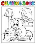 Coloring book with teddy bear 2 — Stock Vector