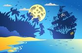 Night seascape with pirate ship 2 — 图库矢量图片