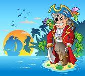 Noble corsair standing on island — Stock Vector