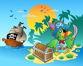 Pirate parrot and chest on island — Stock Vector