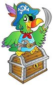 Pirate parrot on treasure chest — Stock Vector