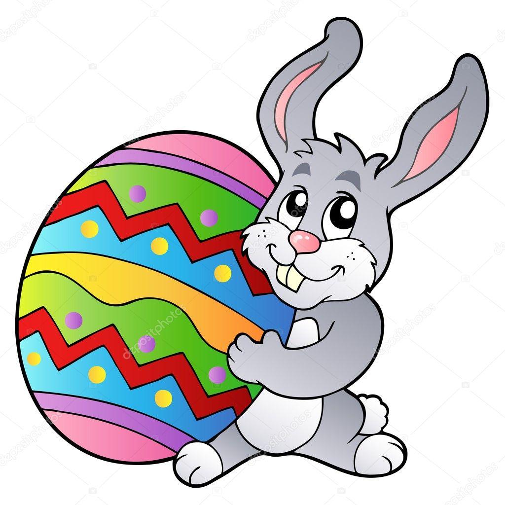 Uovo di pasqua azienda coniglio cartone animato
