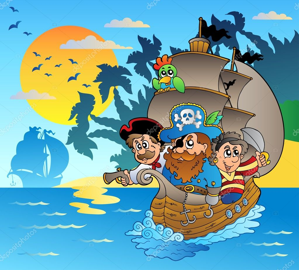 Three pirates in boat near island - vector illustration. — Stock Vector #5065567