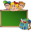 Stock Vector: Board with children and school bag