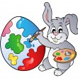 Bunny artist painting Easter egg — Stock Vector
