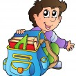 Cartoon boy with school bag - Stock Vector