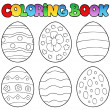coloring book with easter eggs — Stock Vector