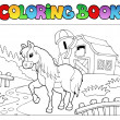 Coloring book with farm and horse - Stock Vector