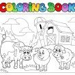 Coloring book with farm animals 3 — Stockvektor