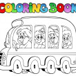 Coloring book with school bus - Stock Vector