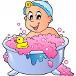 Cute bathing baby — Stock Vector #5204583