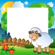 Easter frame with sheep on meadow — Stock Vector