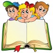 Three children with opened book — Image vectorielle