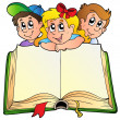 Three children with opened book — Stock Vector