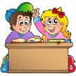 Stock Vector: Two children at school desk