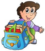 Cartoon boy with school bag — Stock Vector