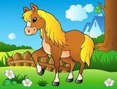Cartoon horse on spring meadow — Stock Vector