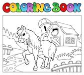 Coloring book with farm and horse — Cтоковый вектор