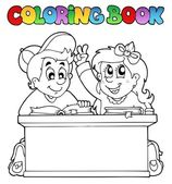 Coloring book with two pupils — Stock Vector