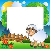 Wielkanoc ramki z owiec na łące — Wektor stockowy