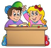 Two children at school desk — Stock Vector