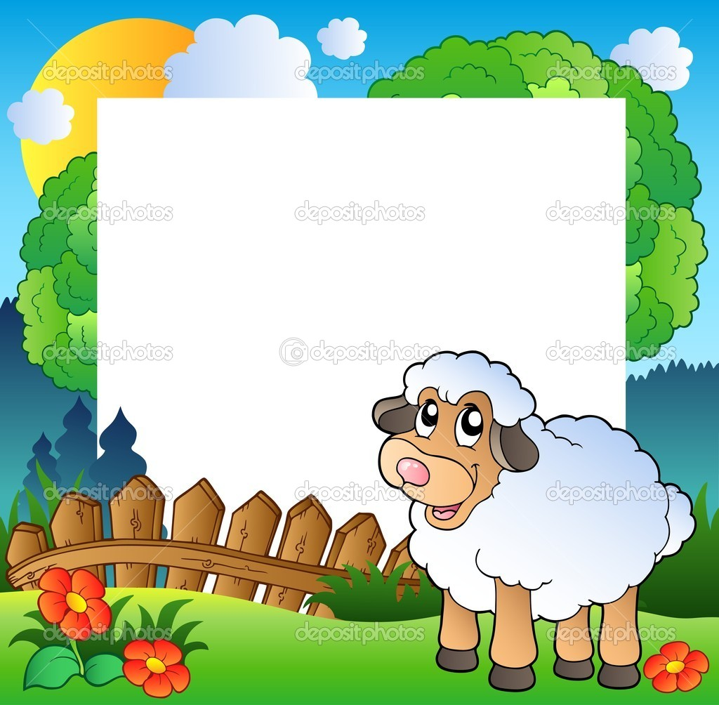 Easter frame with sheep on meadow - vector illustration. — Stock Vector #5204636