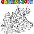 Stock Vector: Coloring book with shipwreck