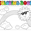 Coloring book with Sun and rainbow — Stock Vector