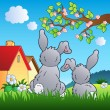 Meadow with two rabbits — Stock Vector #5294029