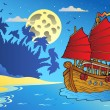 Night seascape with Chinese ship — Stockvectorbeeld