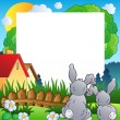 Spring frame with two rabbits - Imagen vectorial