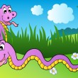Two cartoon snakes on meadow - Stock Vector