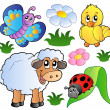 Various happy spring animals — Stock Vector