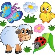Various happy spring animals — Stock Vector #5294082