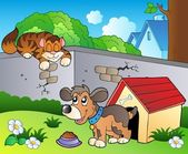 Backyard with cartoon cat and dog — Stock Vector