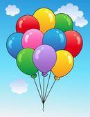Blue sky with cartoon balloons 1 — Stock Vector
