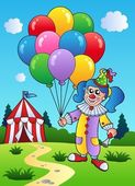 Clown girl with balloons near tent — Stock Vector